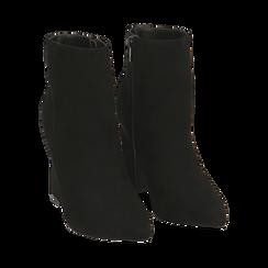 Ankle boots neri in microfibra, tacco 10 cm , Primadonna, 164822754MFNERO035, 002 preview