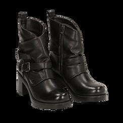 Biker boots neri con fibbie in eco-pelle, tacco 7 cm , Scarpe, 143091353EPNERO035, 002a