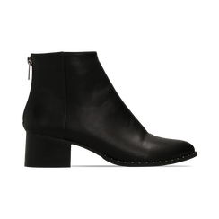 Tronchetti neri con zip, tacco medio 4,5 cm, Primadonna, 122752721EPNERO, 001 preview