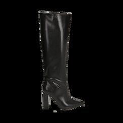 Stivali neri in eco-pelle stampa pitone, tacco 9,5 cm , Stivali, 142166710PTNERO035, 001a