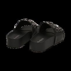 Zeppe nere in eco-pelle con gemme, zeppa 4 cm, Primadonna, 115160026EPNERO041, 004 preview