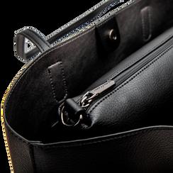 Borsa shopper nera in ecopelle con profilo catene, Saldi, 125702054EPNEROUNI, 006 preview