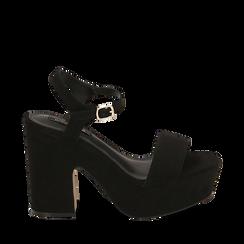 Sandalias en microfibra color negro, tacón de cuña 11 cm , SABOT DE TACÓN ALTO, 154968033MFNERO035, 001a