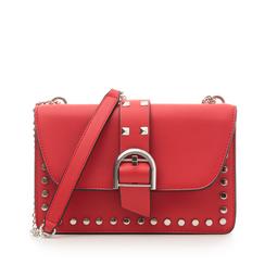Borsa piccola rossa in eco-pelle con borchie, Borse, 132300503EPROSSUNI, 001a