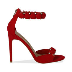 Sandali rossi in microfibra, tacco a stiletto 11 cm, Scarpe, 132120685MFROSS035, 001 preview