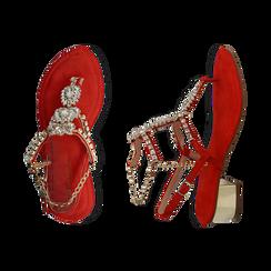 Sandalias en microfibra con pedrería color coral, tacón 3,5 cm , OPORTUNIDADES, 154927101MFCORA036, 003 preview