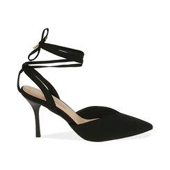 Escarpins à lacets en lycra noir, talon de 9 cm, Primadonna, 172106281LYNERO036, 001 preview