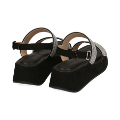 Sandali neri in microfibra, zeppa 4,50 cm , Scarpe, 154991102MPNERO036, 004 preview