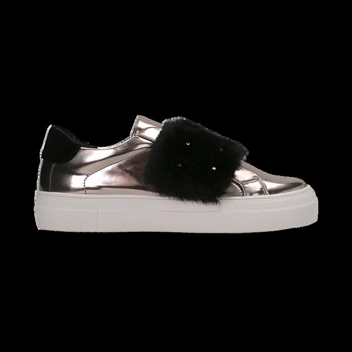 Sneakers canna di fucile Slip-on con dettagli faux-fur e borchie, Scarpe, 126103025SPCANN
