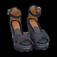 Sandali jeans in tessuto, zeppa 11 cm, Primadonna, 154422213TSJEAN036, 002 preview