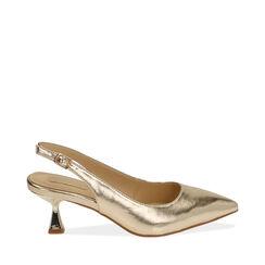 Slingback oro laminato, tacco 6 cm , 174954431LMOROG037, 001a