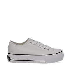 Sneakers bianche in canvas, platform 4 cm, Scarpe, 132619385CABIAN036, 001a