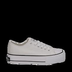 Sneakers bianche in canvas, platform 4 cm, Scarpe, 132619385CABIAN035, 001a
