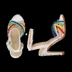 Sandali multilistino bianchi in eco-pelle effetto rainbow, tacco 11 cm, Sandali con tacco, 132120686EPBIAN035, 003 preview