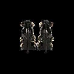 Décolleté nere vernice con cinturino a T borchiato, tacco stiletto 10 cm, Scarpe, 122146820VENERO, 003 preview