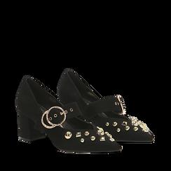 Décolleté nere con maxi-fibbia e boules, tacco 6,5 cm, Primadonna, 122196695MFNERO036, 002a