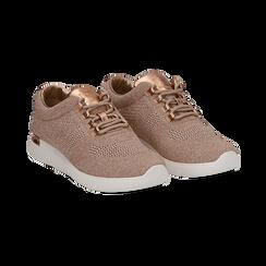 Sneakers rosa in tessuto glitter, Scarpe, 133020229GLROSA036, 002 preview
