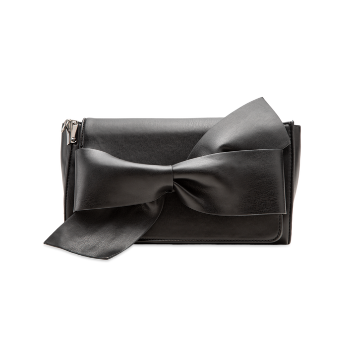 Tracolla nera in ecopelle con fiocco, Primadonna, 122323400EPNEROUNI