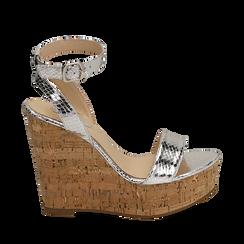 Sandali argento in eco-pelle snake print, zeppa 12 cm , Zapatos, 154985241EVARGE038, 001a