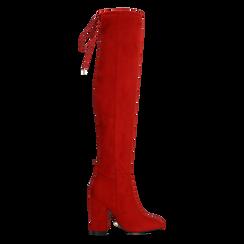 Stivali sopra il ginocchio rossi, tacco 10,5 cm, Scarpe, 122179696MFROSS, 001 preview