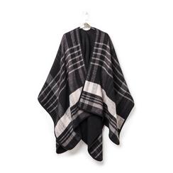 Poncho nero a righe in tessuto , Abbigliamento, 14B404071TSNEROUNI, 003 preview
