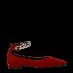 Ballerine rosse microfibra scamosciata con cavigliera e tacco basso, Scarpe, 124971303MFROSS035, 001a