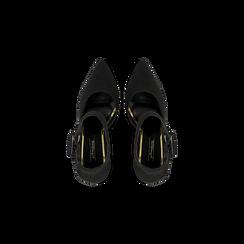 Décolleté nere con maxi cinturino, tacco 9 cm, Scarpe, 124895575MFNERO, 004 preview