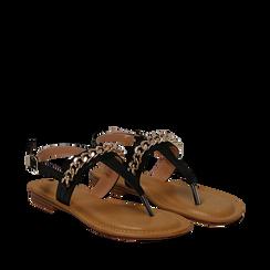 Sandali infradito neri in eco-pelle con catenella, Primadonna, 134988163EPNERO035, 002a