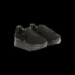 Sneakers nere con maxi platform a righe, Scarpe, 122800321MFNERO, 002 preview
