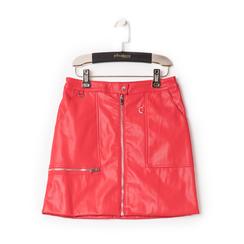 Minigonna rossa in eco-pelle con zip, effetto snake skin, Abbigliamento, 136501801EPROSSL, 001a