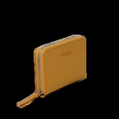 Portafoglio giallo in eco-pelle a tre scomparti, Borse, 133723501EPGIALUNI, 002a