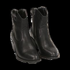 Ankle boots neri in eco-pelle, tacco 4,50 cm, Stivaletti, 150693111EPNERO036, 002 preview
