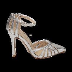 Escarpins argenté brillant avec sangle, talon 11 cm , Chaussures, 152168657LMARGE039, 001 preview
