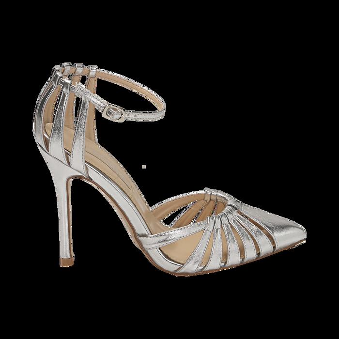 Escarpins argenté brillant avec sangle, talon 11 cm , Chaussures, 152168657LMARGE039