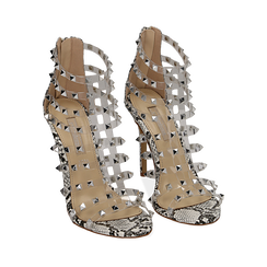 Sandali borchiati bianco/neri in eco-pelle snake print e pvc, tacco 10,50 cm , Primadonna, 152131519PTBINE035, 002a
