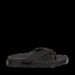 Zeppe infradito nere in pvc con strass, Saldi Estivi, 135810176PVNERO035, 001a