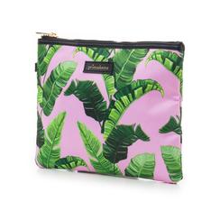 Pochette verde in raso con stampa jungle, Primadonna, 115910014RSVERDUNI, 004 preview