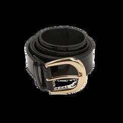 Cintura nera in vernice stampa cocco, Abbigliamento, 144045701VENEROUNI, 001 preview