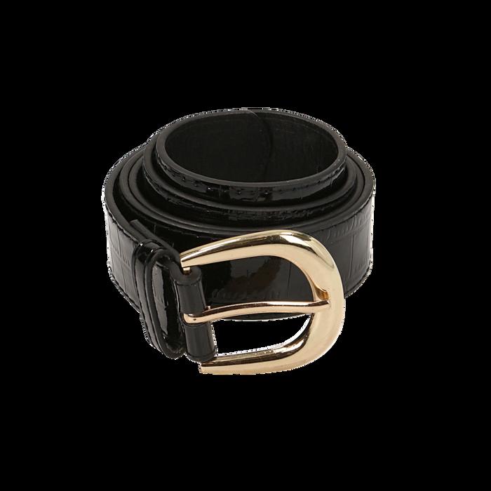 Cintura nera in vernice stampa cocco, Abbigliamento, 144045701VENEROUNI