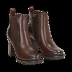 Chelsea boots cuoio in eco-pelle, tacco 8,5 cm , Scarpe, 143066110EPCUOI036, 002 preview