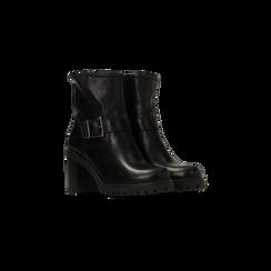 Tronchetti neri in vera pelle con fibbia rettangolare, tacco 5 cm, Scarpe, 127723803PENERO, 002 preview