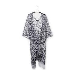 Poncho nero/argento in tessuto laminato , Abbigliamento, 13B445053LMNEARUNI, 001 preview