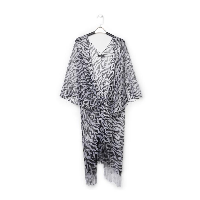 Poncho nero/argento in tessuto laminato , Abbigliamento, 13B445053LMNEARUNI