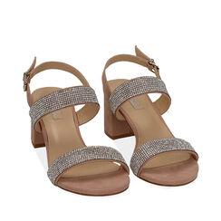 Sandales nude en microfibre avec strass, talon de 6,5 cm, Primadonna, 152909505MPNUDE035, 002a