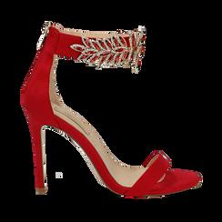 Sandali gioiello rossi in microfibra, tacco stiletto 10,5 cm, Scarpe, 132163151MFROSS, 001 preview