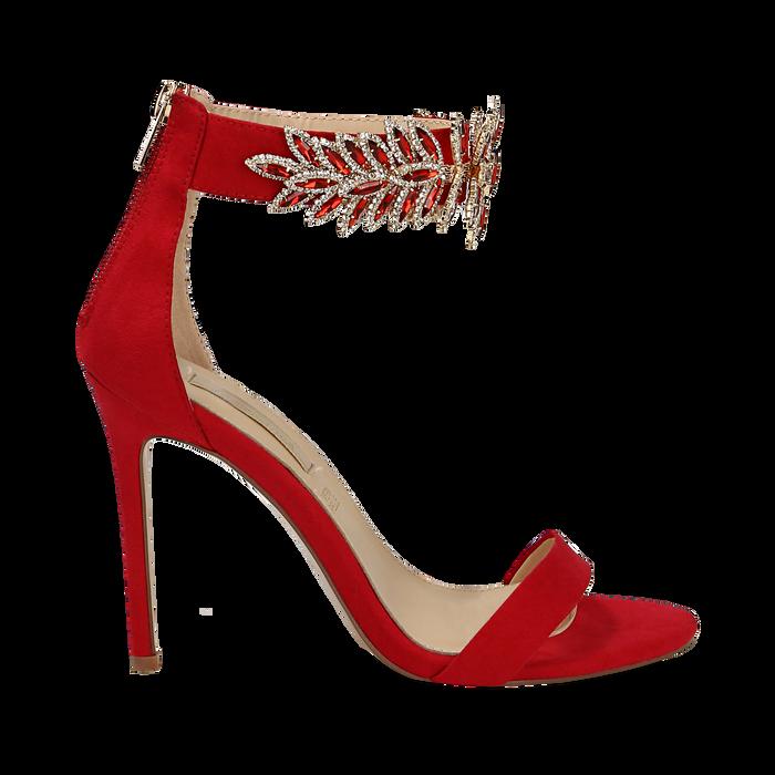 Sandali gioiello rossi in microfibra, tacco stiletto 10,5 cm, Scarpe, 132163151MFROSS