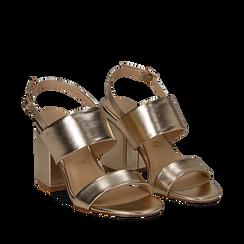 Sandali doppia fascia oro in laminato, tacco 9 cm, Primadonna, 132177304LMOROG035, 002a