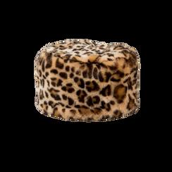 Colbacco leopard in eco-pelliccia, Saldi Abbigliamento, 12B413001FULEOP, 001 preview