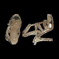 Sandali oro effetto mirror, tacco 12,50 cm, OUTLET, 152175011SPOROG038, 003 preview