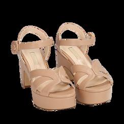 Sandalias en microfibra color nude, tacón cuña 8,50 cm, Primadonna, 158480211EPNUDE035, 002a